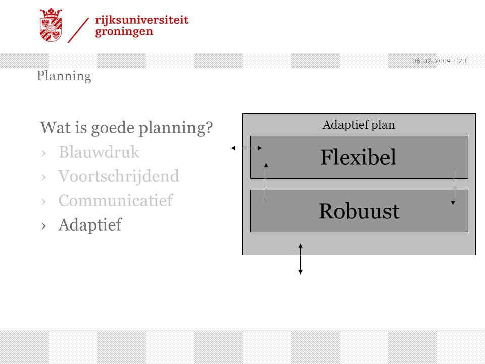 06-02-2009 | 23 Wat is goede planning? ›Blauwdruk ›Voortschrijdend ›Communicatief ›Adaptief Planning Robuust Adaptief plan Flexibel