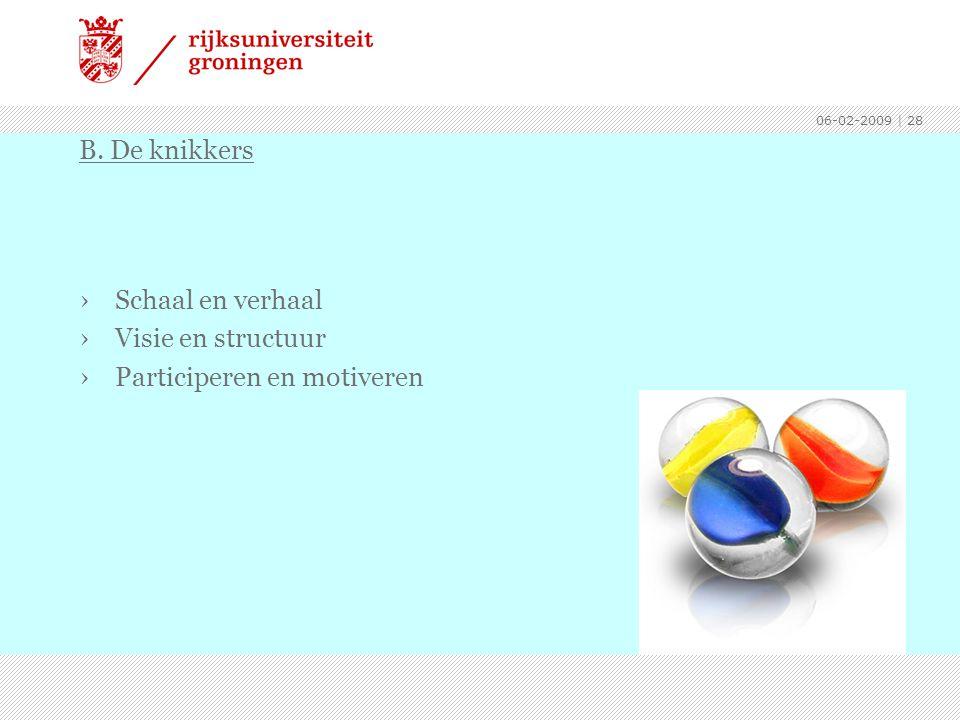 06-02-2009 | 28 ›Schaal en verhaal ›Visie en structuur ›Participeren en motiveren B. De knikkers