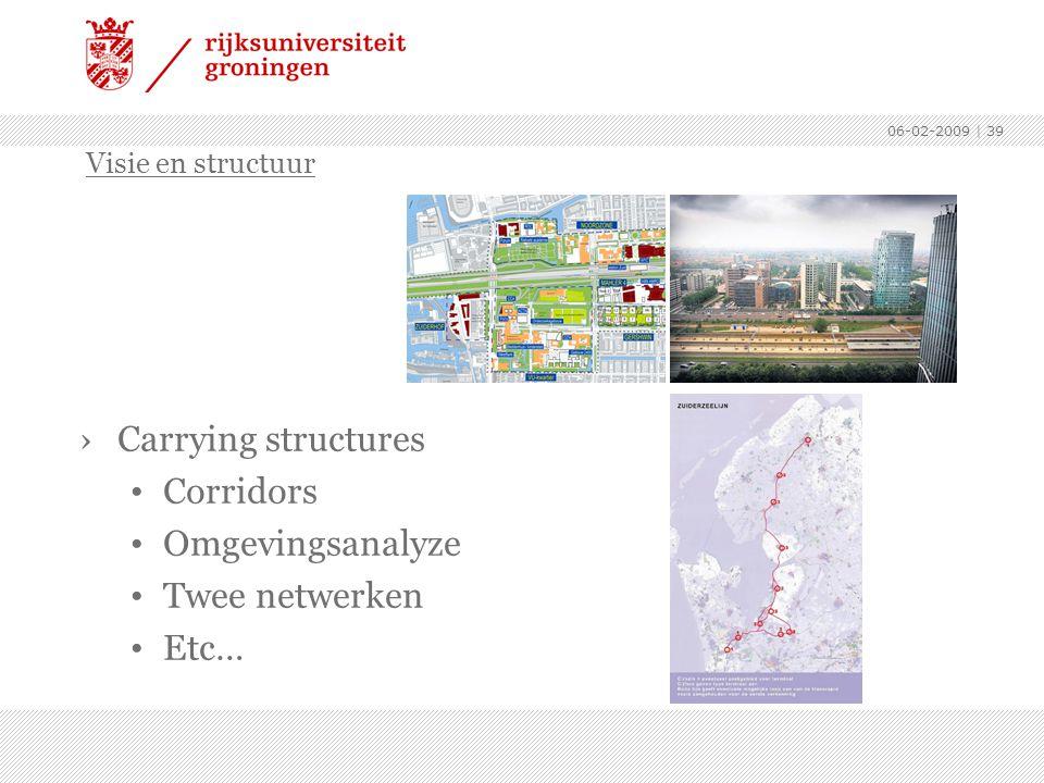 06-02-2009 | 39 ›Carrying structures Corridors Omgevingsanalyze Twee netwerken Etc… Visie en structuur