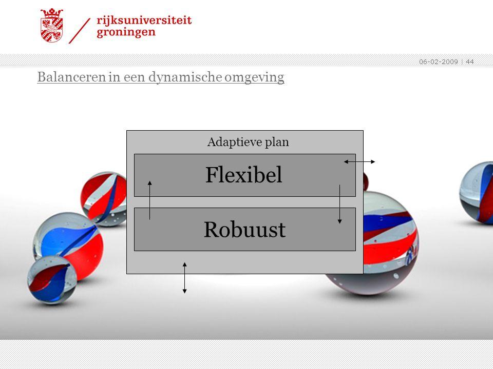 06-02-2009 | 44 Balanceren in een dynamische omgeving Robuust Adaptieve plan Flexibel