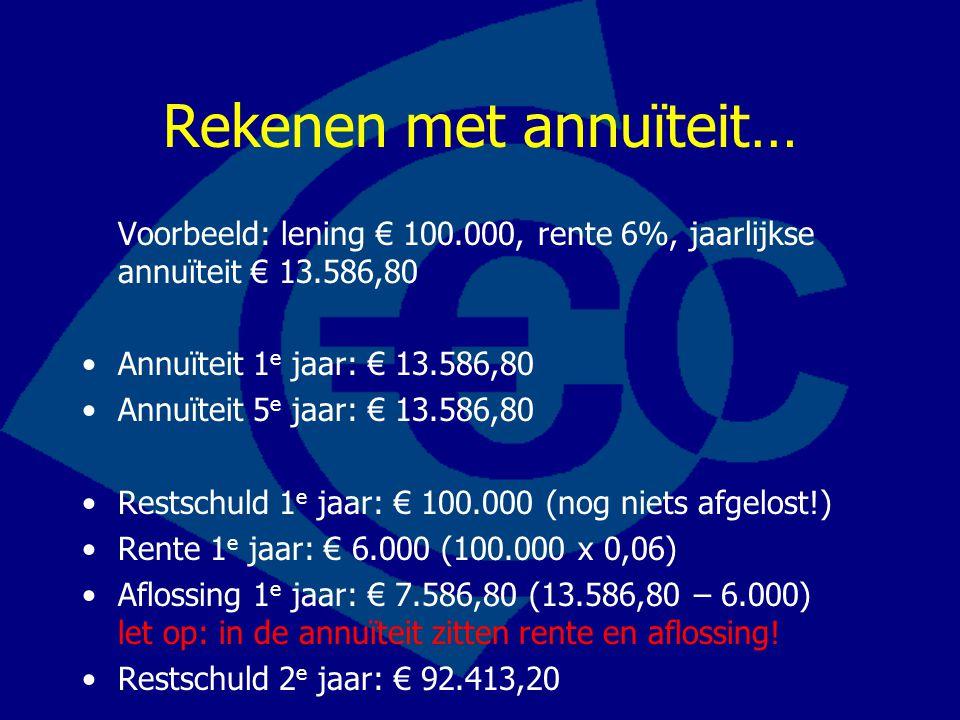 Rekenen met annuïteit… Voorbeeld: lening € 100.000, rente 6%, jaarlijkse annuïteit € 13.586,80 Annuïteit 1 e jaar: € 13.586,80 Annuïteit 5 e jaar: € 1