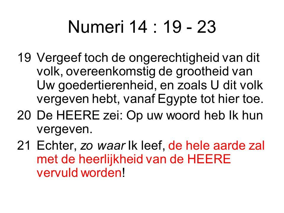Numeri 14 : 19 - 23 19Vergeef toch de ongerechtigheid van dit volk, overeenkomstig de grootheid van Uw goedertierenheid, en zoals U dit volk vergeven hebt, vanaf Egypte tot hier toe.