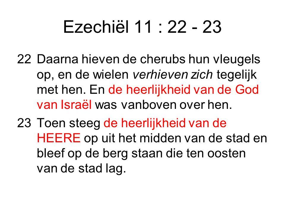 Ezechiël 11 : 22 - 23 22Daarna hieven de cherubs hun vleugels op, en de wielen verhieven zich tegelijk met hen.