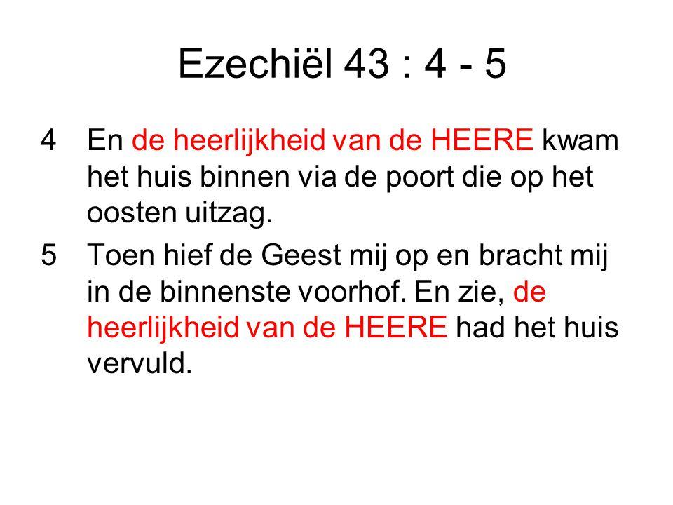 Ezechiël 43 : 4 - 5 4En de heerlijkheid van de HEERE kwam het huis binnen via de poort die op het oosten uitzag.