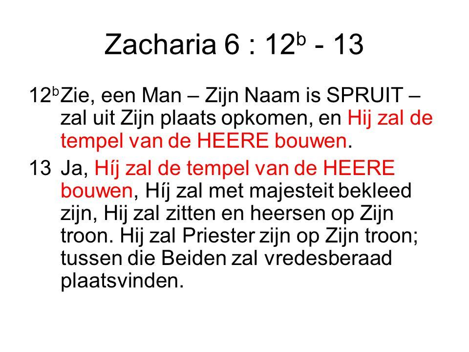 Zacharia 6 : 12 b - 13 12 b Zie, een Man – Zijn Naam is SPRUIT – zal uit Zijn plaats opkomen, en Hij zal de tempel van de HEERE bouwen.