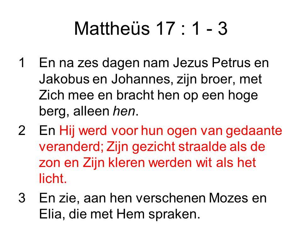 Mattheüs 17 : 1 - 3 1En na zes dagen nam Jezus Petrus en Jakobus en Johannes, zijn broer, met Zich mee en bracht hen op een hoge berg, alleen hen.