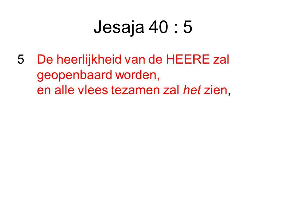 Jesaja 40 : 5 5De heerlijkheid van de HEERE zal geopenbaard worden, en alle vlees tezamen zal het zien,