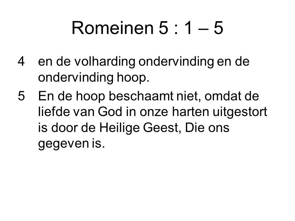 Romeinen 5 : 1 – 5 4en de volharding ondervinding en de ondervinding hoop.