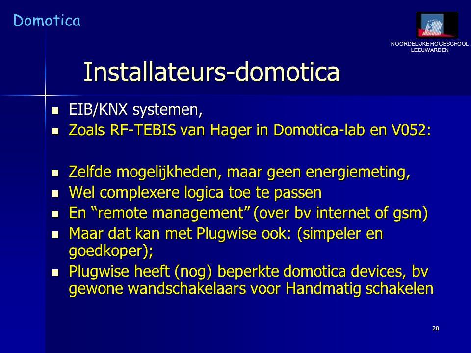 NOORDELIJKE HOGESCHOOL LEEUWARDEN Domotica 28 Installateurs-domotica EIB/KNX systemen, EIB/KNX systemen, Zoals RF-TEBIS van Hager in Domotica-lab en V