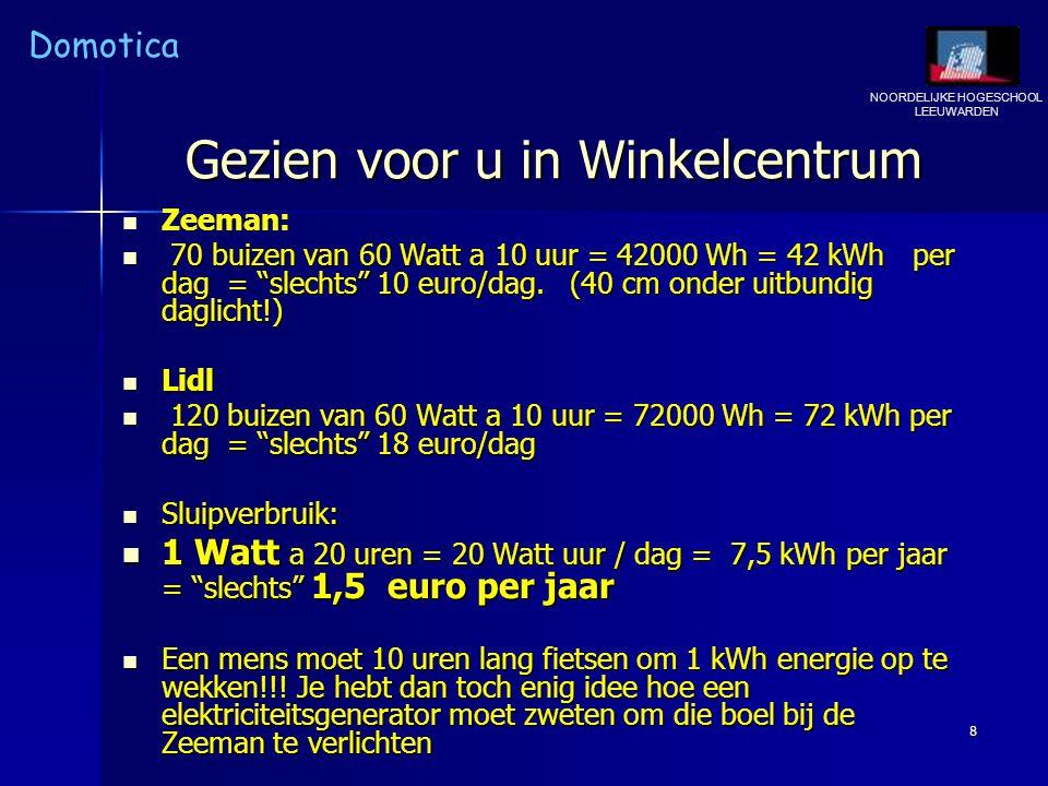 """NOORDELIJKE HOGESCHOOL LEEUWARDEN Domotica 8 Gezien voor u in Winkelcentrum Zeeman: 70 buizen van 60 Watt a 10 uur = 42000 Wh = 42 kWh per dag = """"slec"""