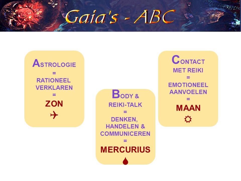 A STROLOGIE = RATIONEEL VERKLAREN = ZON  B ODY & REIKI-TALK = DENKEN, HANDELEN & COMMUNICEREN = MERCURIUS  C ONTACT MET REIKI = EMOTIONEEL AANVOELEN = MAAN 
