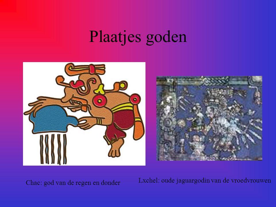 Welke goden hebben de maya's? Ze hebben verschillende goden zoals: Ahpuch: god van de dood. Chac:god van regen en donder. Huracom: hemelse schepper go
