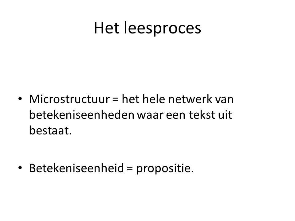 Het leesproces Microstructuur = het hele netwerk van betekeniseenheden waar een tekst uit bestaat. Betekeniseenheid = propositie.