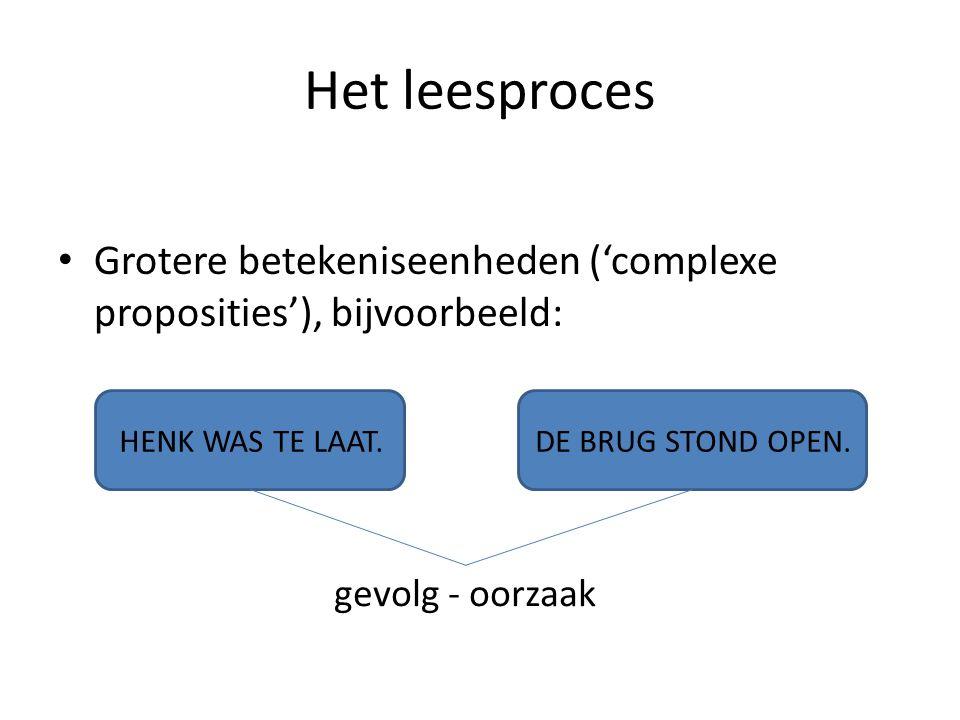 Het leesproces Grotere betekeniseenheden ('complexe proposities'), bijvoorbeeld: HENK WAS TE LAAT.DE BRUG STOND OPEN. gevolg - oorzaak