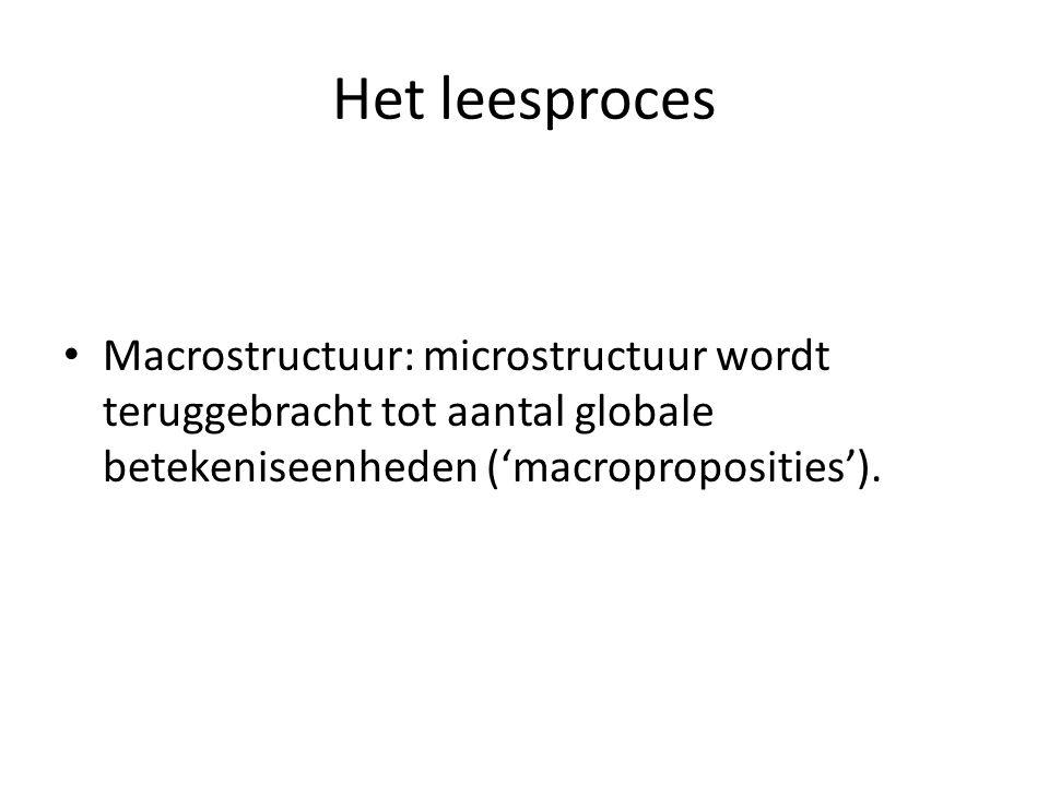 Het leesproces Macrostructuur: microstructuur wordt teruggebracht tot aantal globale betekeniseenheden ('macroproposities').