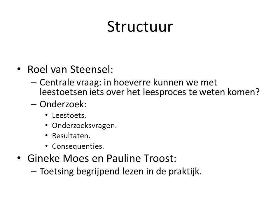 Structuur Roel van Steensel: – Centrale vraag: in hoeverre kunnen we met leestoetsen iets over het leesproces te weten komen? – Onderzoek: Leestoets.