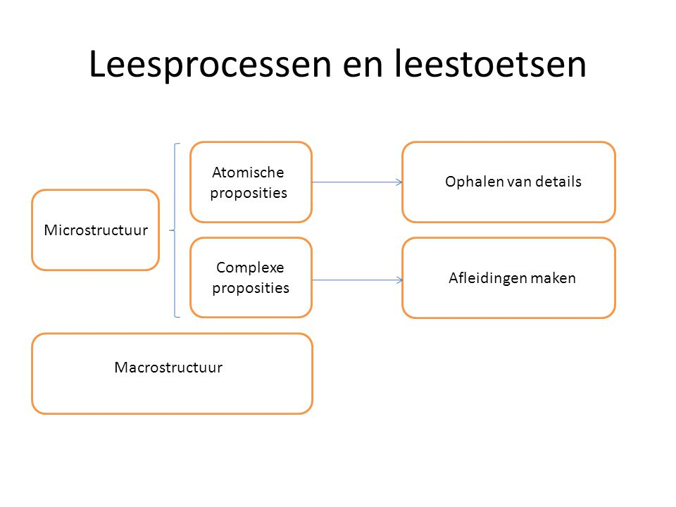 Leesprocessen en leestoetsen Atomische proposities Complexe proposities Macrostructuur Ophalen van details Afleidingen maken Microstructuur