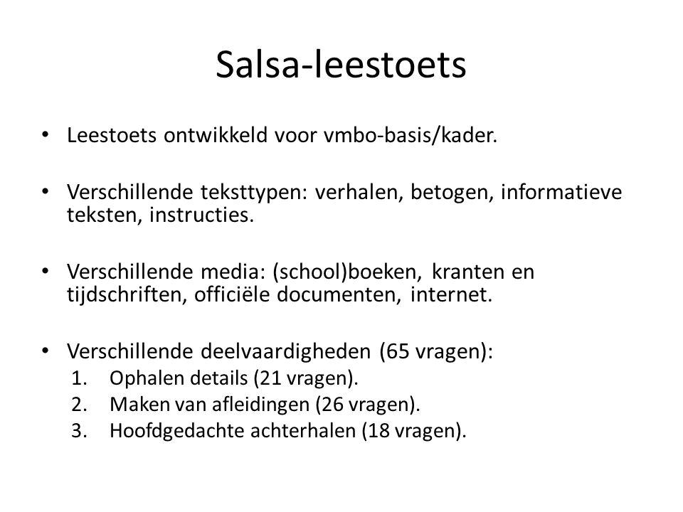 Salsa-leestoets Leestoets ontwikkeld voor vmbo-basis/kader. Verschillende teksttypen: verhalen, betogen, informatieve teksten, instructies. Verschille