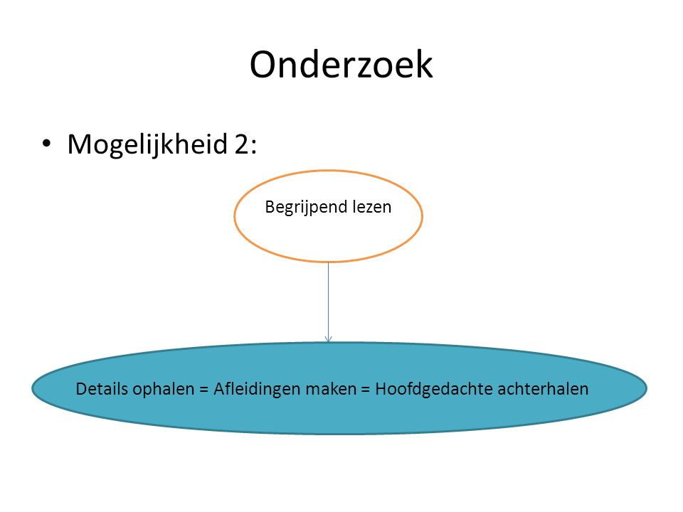 Onderzoek Mogelijkheid 2: Begrijpend lezen Details ophalen = Afleidingen maken = Hoofdgedachte achterhalen