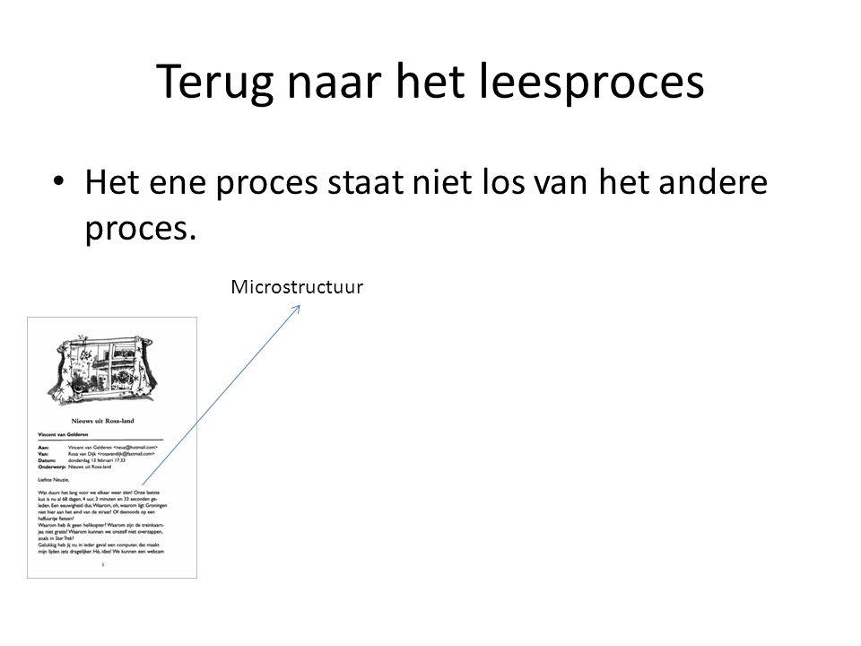 Terug naar het leesproces Het ene proces staat niet los van het andere proces. Microstructuur