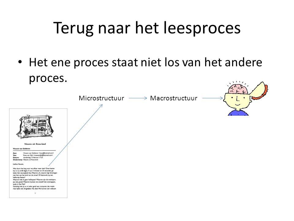 Terug naar het leesproces Het ene proces staat niet los van het andere proces. MacrostructuurMicrostructuur