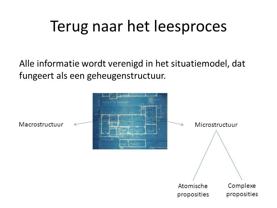 Terug naar het leesproces Alle informatie wordt verenigd in het situatiemodel, dat fungeert als een geheugenstructuur. Macrostructuur Microstructuur A