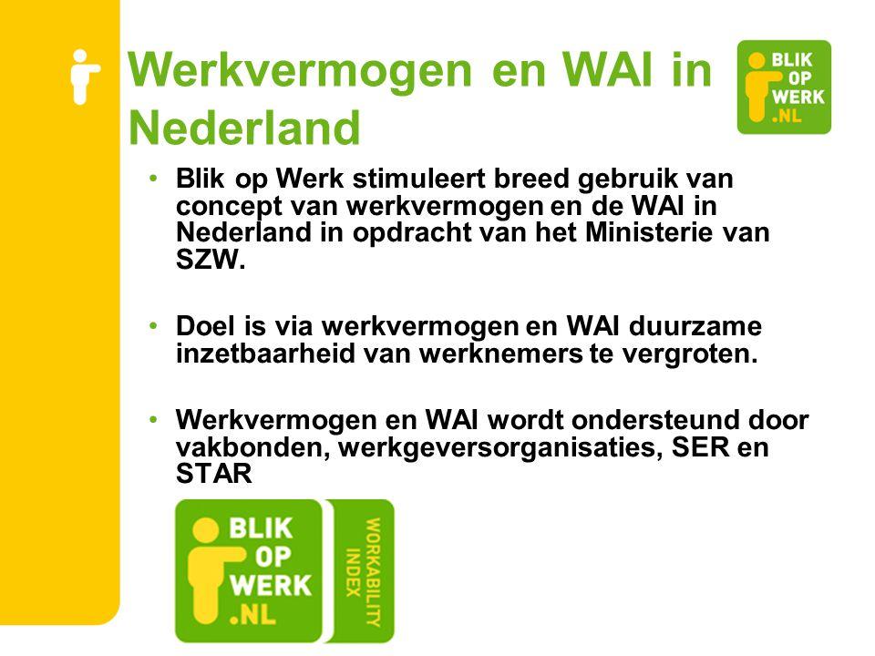 Werkvermogen en WAI in Nederland Blik op Werk stimuleert breed gebruik van concept van werkvermogen en de WAI in Nederland in opdracht van het Ministe