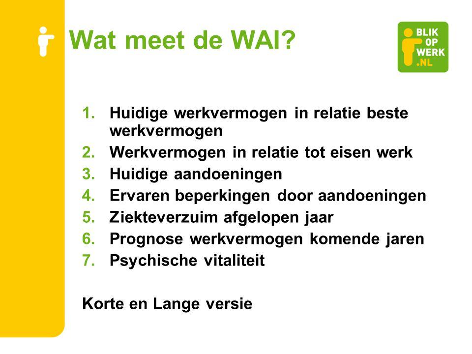 Wat meet de WAI? 1.Huidige werkvermogen in relatie beste werkvermogen 2.Werkvermogen in relatie tot eisen werk 3.Huidige aandoeningen 4.Ervaren beperk