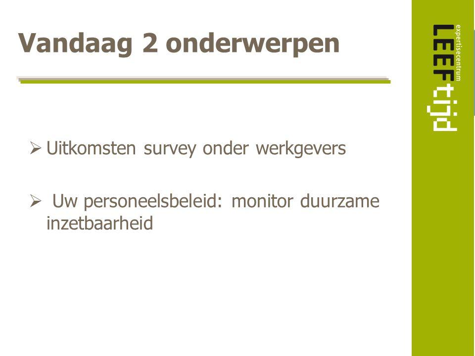 Vandaag 2 onderwerpen  Uitkomsten survey onder werkgevers  Uw personeelsbeleid: monitor duurzame inzetbaarheid