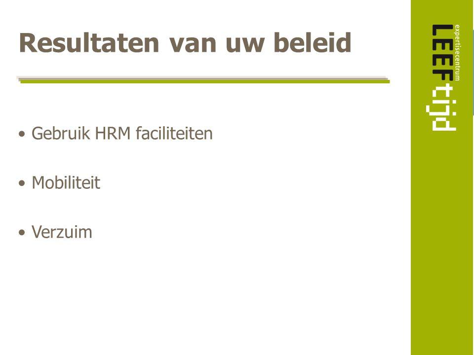 Resultaten van uw beleid Gebruik HRM faciliteiten Mobiliteit Verzuim