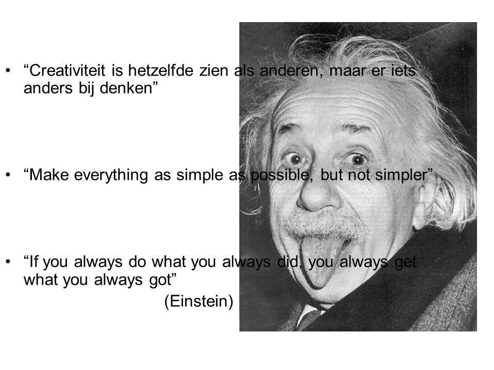 Creativiteit is hetzelfde zien als anderen, maar er iets anders bij denken Make everything as simple as possible, but not simpler If you always do what you always did, you always get what you always got (Einstein)