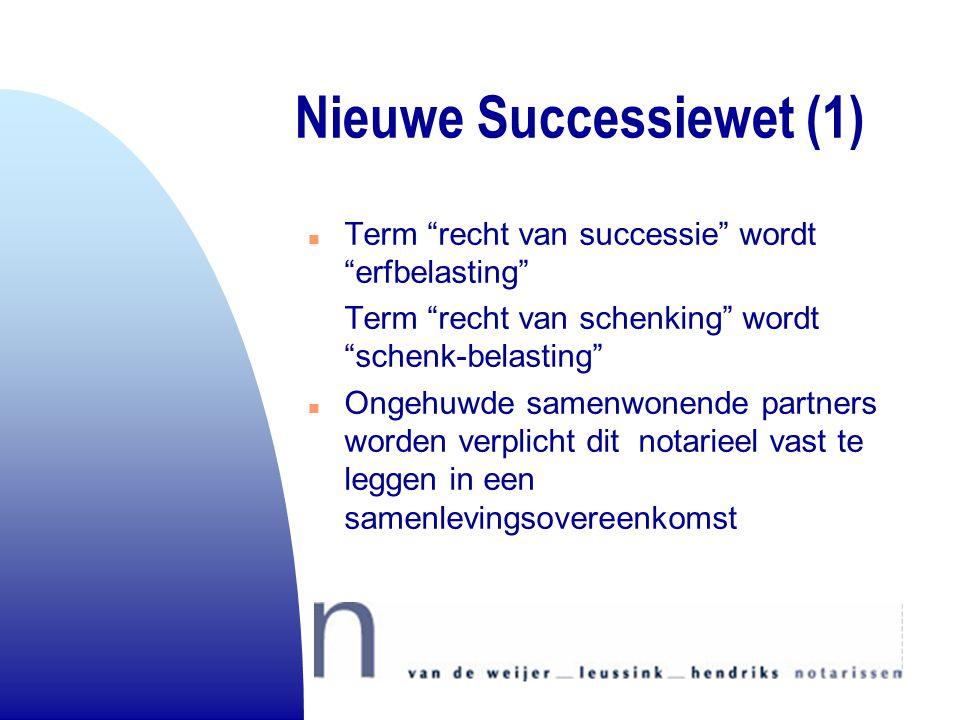 """Nieuwe Successiewet (1) n Term """"recht van successie"""" wordt """"erfbelasting"""" Term """"recht van schenking"""" wordt """"schenk-belasting"""" n Ongehuwde samenwonende"""
