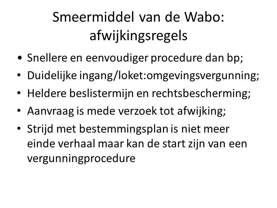 Afwijkingsmogelijkheden Wabo 3 situaties – In bestemmingsplan opgenomen (8wk); – Genoemd in bijlage 2, artikel 4 Bor (8 wk); – Uitgebreide afwijkingsprocedure (26 wk).
