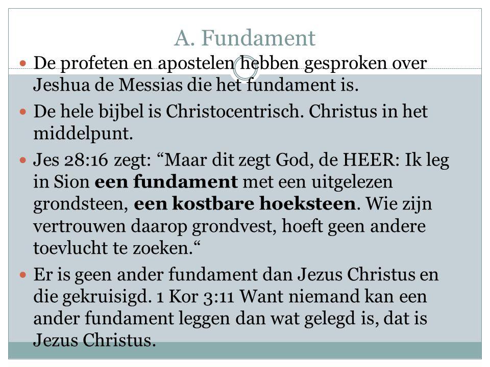 A. Fundament De profeten en apostelen hebben gesproken over Jeshua de Messias die het fundament is. De hele bijbel is Christocentrisch. Christus in he