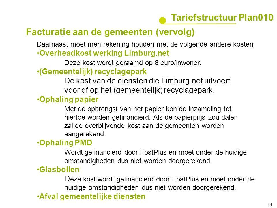 11 Daarnaast moet men rekening houden met de volgende andere kosten Overheadkost werking Limburg.net Deze kost wordt geraamd op 8 euro/inwoner. (Gemee