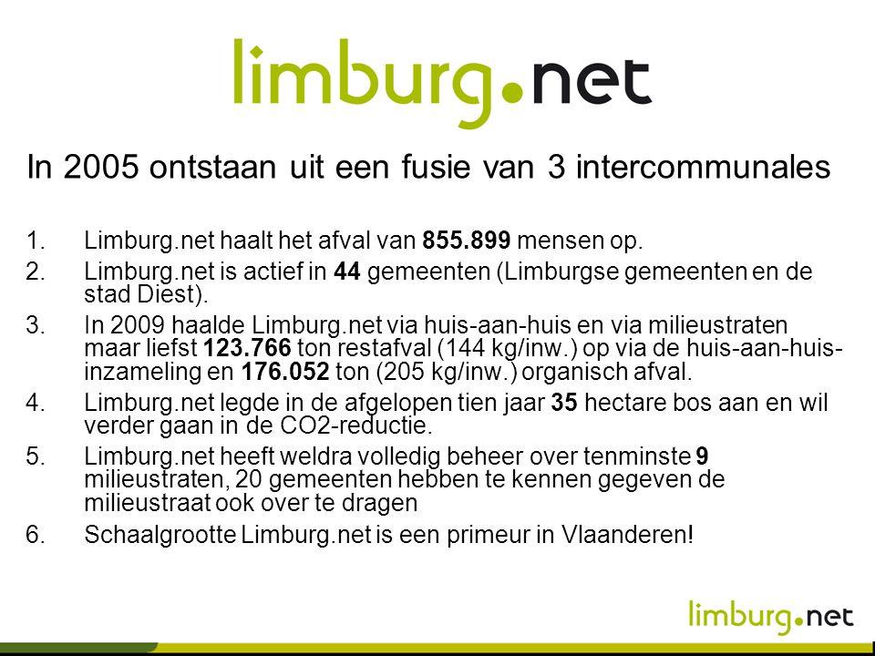 In 2005 ontstaan uit een fusie van 3 intercommunales 1.Limburg.net haalt het afval van 855.899 mensen op. 2.Limburg.net is actief in 44 gemeenten (Lim