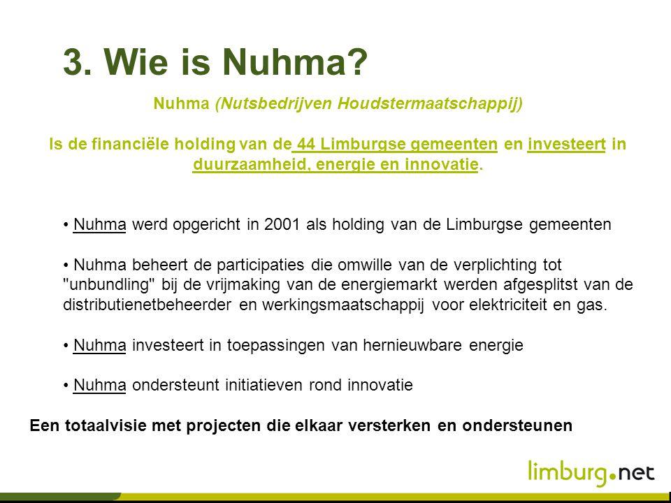 Nuhma (Nutsbedrijven Houdstermaatschappij) Is de financiële holding van de 44 Limburgse gemeenten en investeert in duurzaamheid, energie en innovatie.
