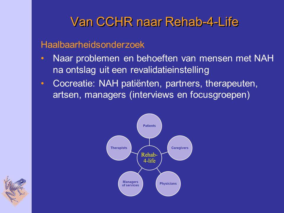 Van CCHR naar Rehab-4-Life Haalbaarheidsonderzoek Naar problemen en behoeften van mensen met NAH na ontslag uit een revalidatieinstelling Cocreatie: NAH patiënten, partners, therapeuten, artsen, managers (interviews en focusgroepen)