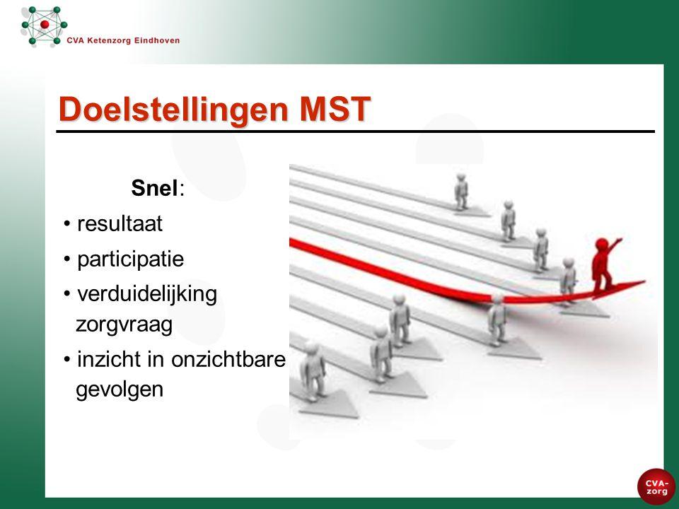 Snel: resultaat participatie verduidelijking zorgvraag inzicht in onzichtbare gevolgen Doelstellingen MST