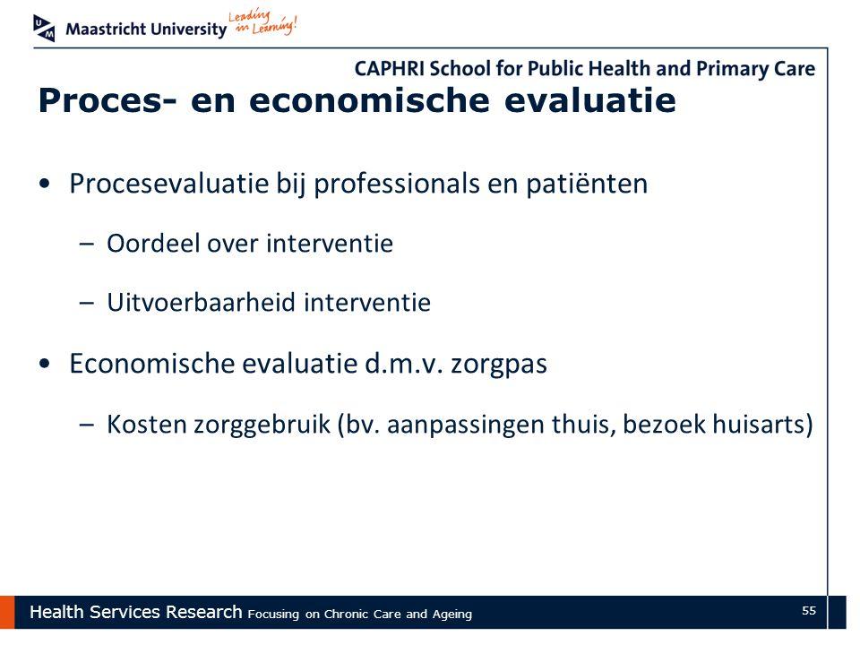 Health Services Research Focusing on Chronic Care and Ageing 55 Proces- en economische evaluatie Procesevaluatie bij professionals en patiënten –Oordeel over interventie –Uitvoerbaarheid interventie Economische evaluatie d.m.v.