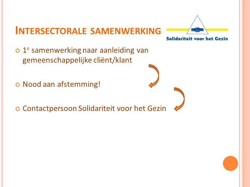 I NTERSECTORALE SAMENWERKING 1 e samenwerking naar aanleiding van gemeenschappelijke cliënt/klant Nood aan afstemming! Contactpersoon Solidariteit voo