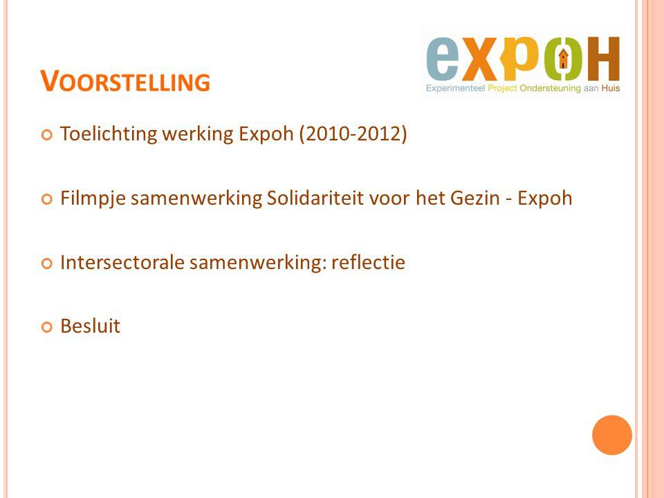 V OORSTELLING Toelichting werking Expoh (2010-2012) Filmpje samenwerking Solidariteit voor het Gezin - Expoh Intersectorale samenwerking: reflectie Be