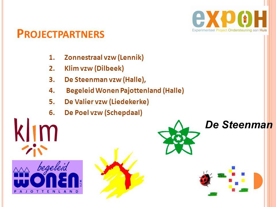 P ROJECTPARTNERS 1.Zonnestraal vzw (Lennik) 2.Klim vzw (Dilbeek) 3.De Steenman vzw (Halle), 4. Begeleid Wonen Pajottenland (Halle) 5.De Valier vzw (Li