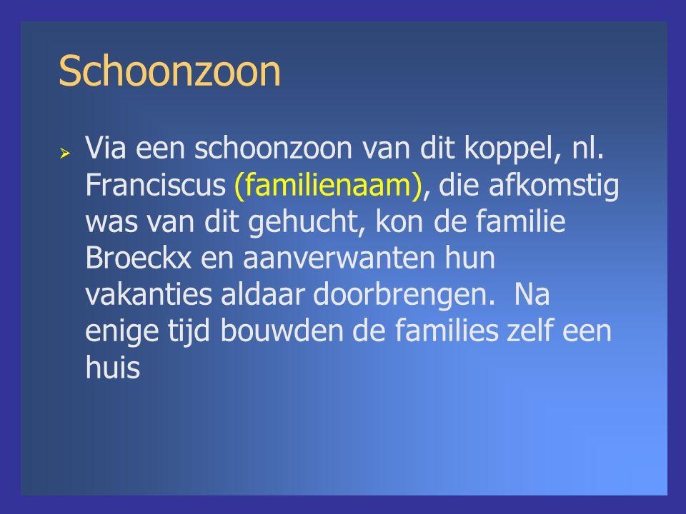 Schoonzoon  Via een schoonzoon van dit koppel, nl. Franciscus (familienaam), die afkomstig was van dit gehucht, kon de familie Broeckx en aanverwante