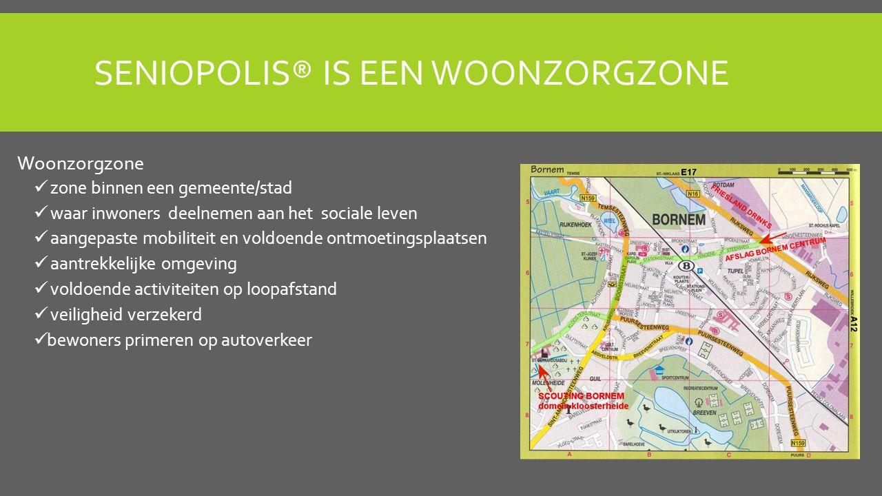 SENIOPOLIS® IS EEN WOONZORGZONE Woonzorgzone zone binnen een gemeente/stad waar inwoners deelnemen aan het sociale leven aangepaste mobiliteit en voldoende ontmoetingsplaatsen aantrekkelijke omgeving voldoende activiteiten op loopafstand veiligheid verzekerd bewoners primeren op autoverkeer