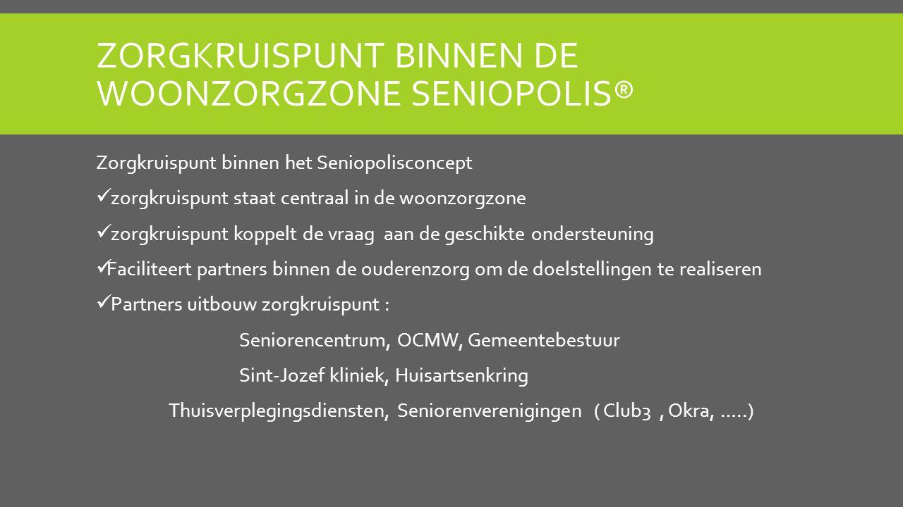 ZORGKRUISPUNT BINNEN DE WOONZORGZONE SENIOPOLIS® Zorgkruispunt binnen het Seniopolisconcept zorgkruispunt staat centraal in de woonzorgzone zorgkruisp