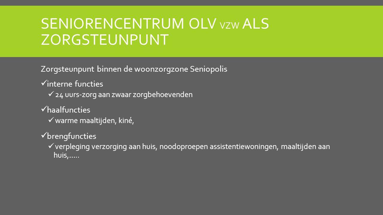 SENIORENCENTRUM OLV VZW ALS ZORGSTEUNPUNT Zorgsteunpunt binnen de woonzorgzone Seniopolis interne functies 24 uurs-zorg aan zwaar zorgbehoevenden haal