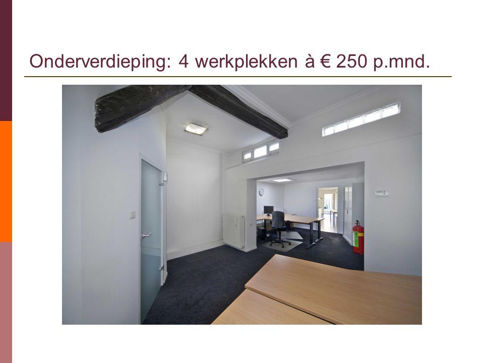 Onderverdieping: 4 werkplekken à € 250 p.mnd.