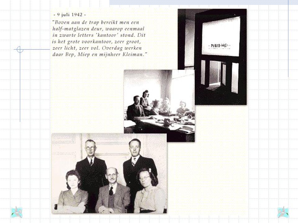 De helpers Het Opekta-filiaal van Otto Frank heeft niet veel personeel: Victor Kugler, Miep Gies, Johannes Kleiman en Bep Voskuijl. Zij werken in het