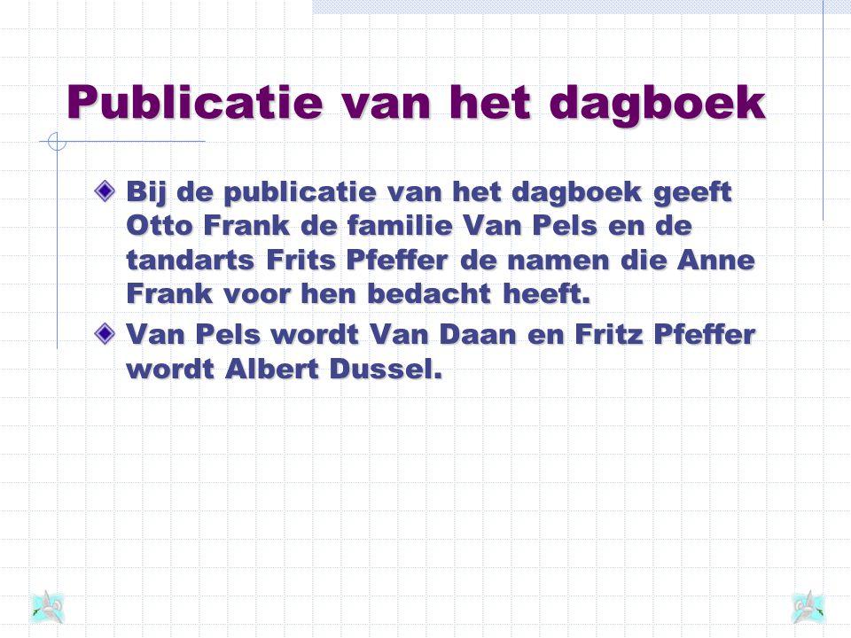 Het dagboek Tijdens haar onderduik houdt Anne Frank een dagboek bij. In de ruim twee jaar dat zij verborgen zit schrijft zij enkele schriften vol. Op